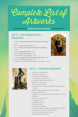 Complete List of Artworks