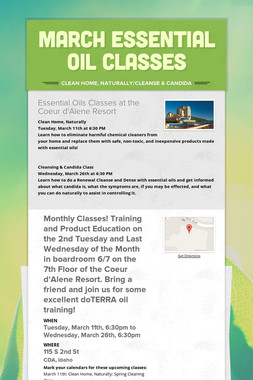MARCH Essential Oil Classes