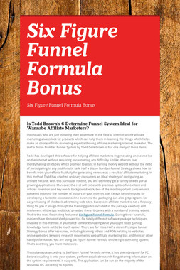 Six Figure Funnel Formula Bonus