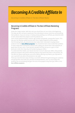Becoming A Credible Affiliate In