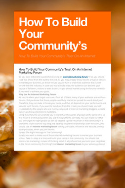 How To Build Your Community's