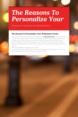 The Reasons To Personalize Your