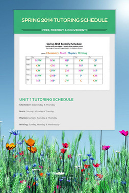 Spring 2014 Tutoring Schedule