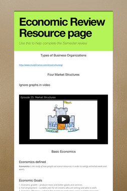 Economic Review Resource page