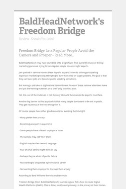 BaldHeadNetwork's Freedom Bridge