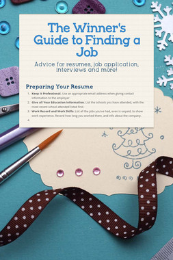 The Winner's Guide to Finding a Job