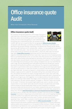 Office insurance quote Audit