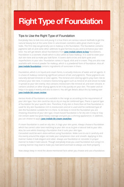 Right Type of Foundation