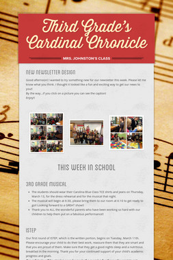 Third Grade's  Cardinal Chronicle