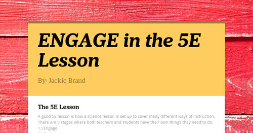 Engage In The 5e Lesson Smore Newsletters For Education