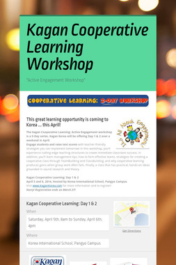 Kagan Cooperative Learning Workshop