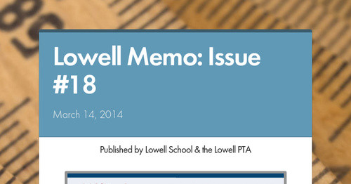 Lowell Memo: Issue #18