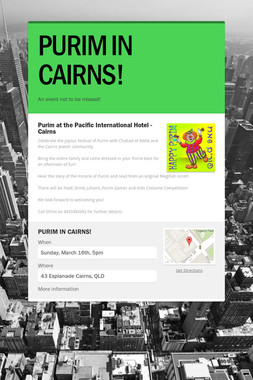 PURIM IN CAIRNS!