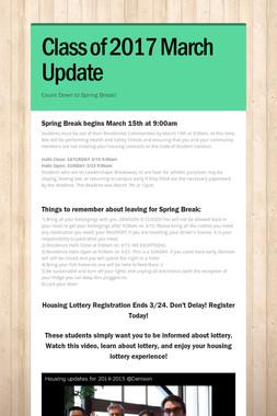 Class of 2017 March Update