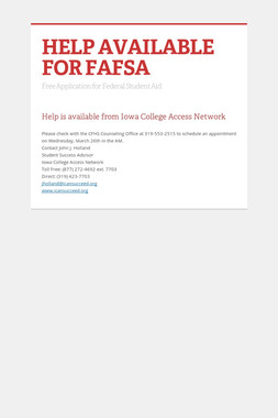 HELP AVAILABLE FOR FAFSA