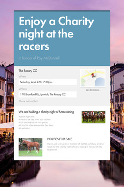 Enjoy a Charity night at the racers