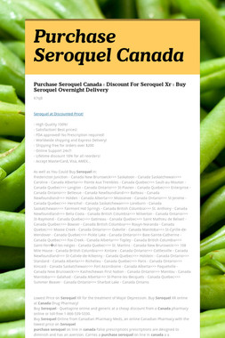 Purchase Seroquel Canada