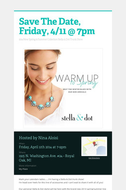Save The Date, Friday,  4/11 @ 7pm
