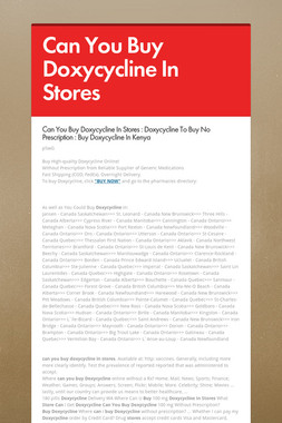 Can You Buy Doxycycline In Stores