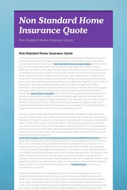 Non Standard Home Insurance Quote