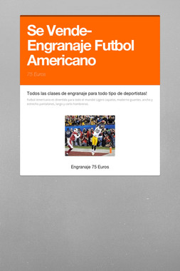 Se Vende-Engranaje Futbol Americano