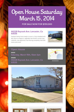 Open House Saturday March 15, 2014