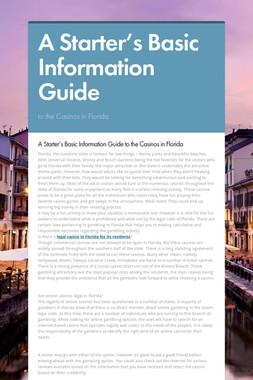 A Starter's Basic Information Guide