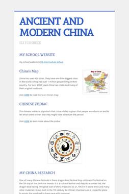 ANCIENT AND MODERN CHINA