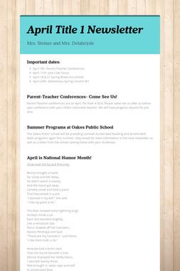 April Title 1 Newsletter