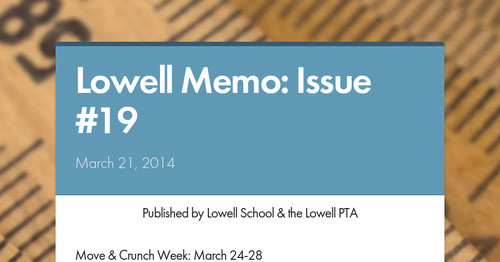 Lowell Memo: Issue #19