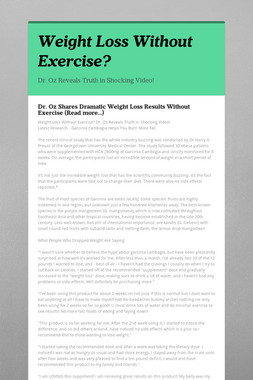 Weight Loss Without Exercise?