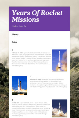 Years Of Rocket Missions