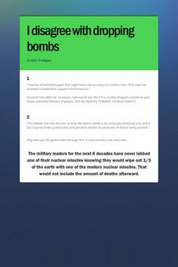 I disagree with dropping bombs