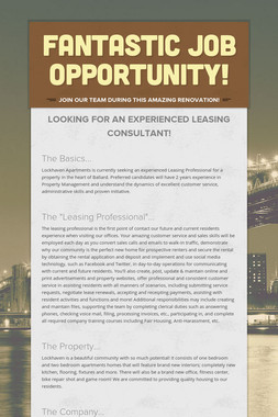 Fantastic Job Opportunity!
