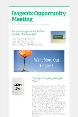 Isagenix Opportunity Meeting