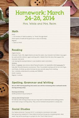 Homework: March 24-28, 2014