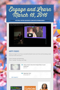 Engage and Learn March 18, 2016