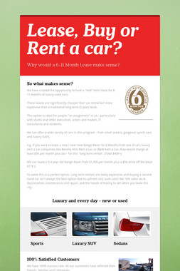 Lease, Buy or Rent a car?