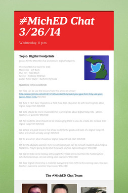 #MichED Chat 3/26/14