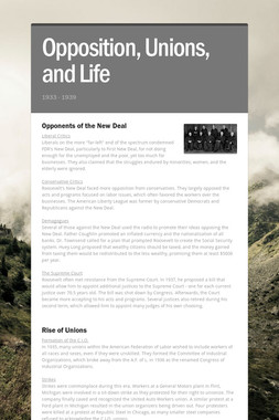 Opposition, Unions, and Life
