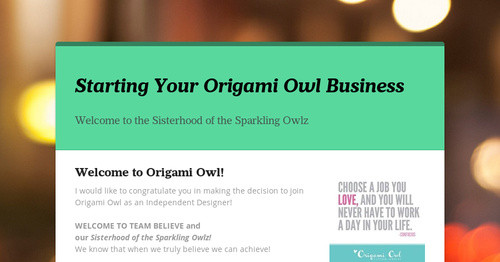 Starting Your Origami Owl Business