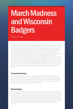 March Madness and Wisconsin Badgers