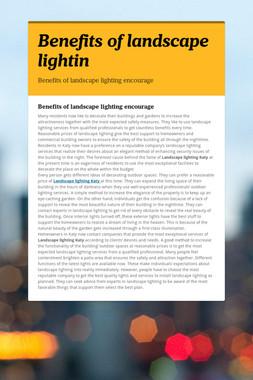 Benefits of landscape lightin