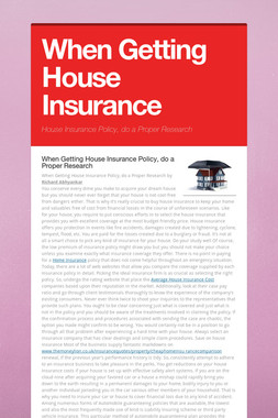 When Getting House Insurance