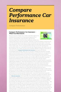 Compare Performance Car Insurance