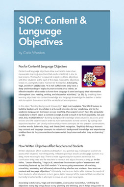 SIOP: Content & Language Objectives