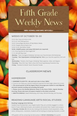 Fifth Grade Weekly News