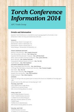 Torch Conference Information 2014