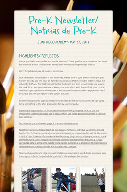 Pre-K Newsletter/ Noticias de Pre-K