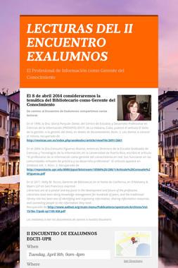 LECTURAS DEL II ENCUENTRO EXALUMNOS